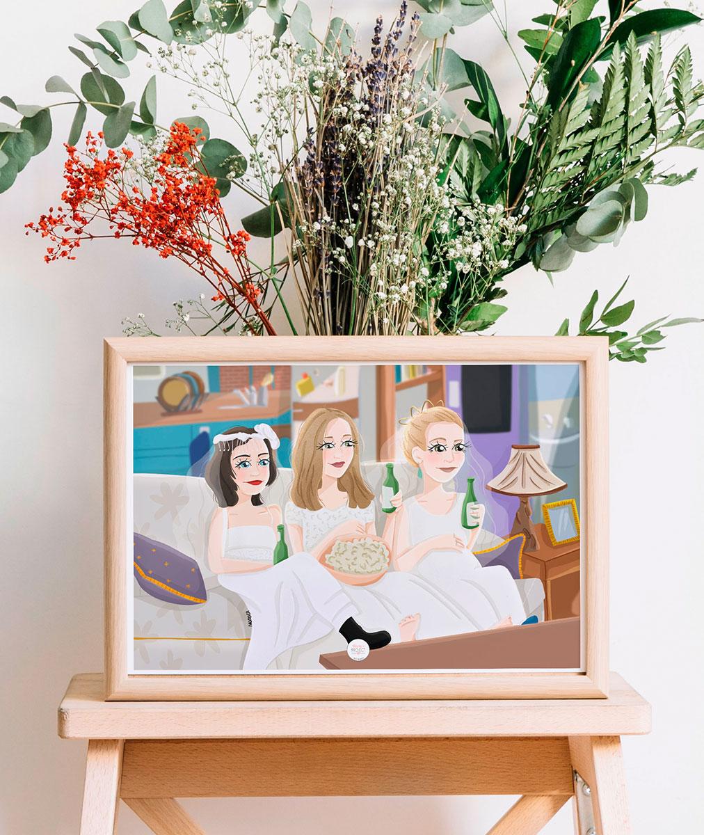 lamina decorativa serie friends monica rachel phoebe vestidos de novia